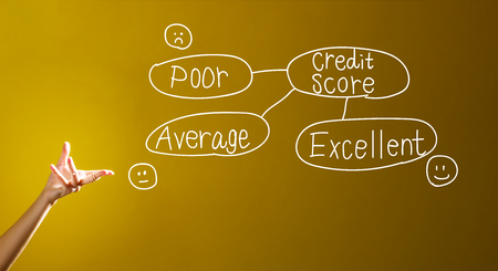 Credit score theme with a hand in a dark yellow background