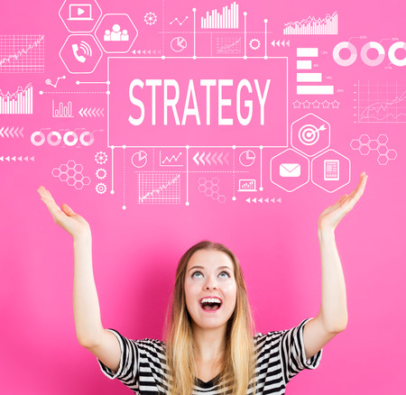 Strategy with young woman reaching and looking upwards