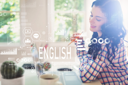 English with young woman holding a pencil Banco de Imagens - 107017635