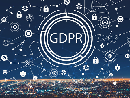 GDPR with downtown Los Angeles at night Фото со стока