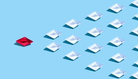 Un bateau en papier origami menant d'autres bateaux Banque d'images - 107357822