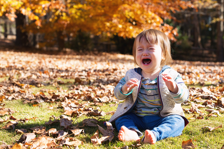 Toddler boy crying outside on an autumn day