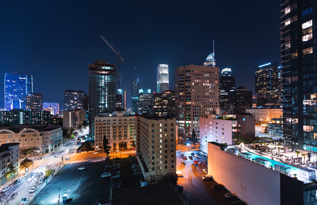Aerial view of Downtown Los Angeles, CA at night Фото со стока