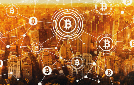Bitcoin with aerial view of Manhattan, NY skyline
