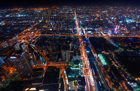 Aerial view of the Osaka cityscape at night Archivio Fotografico - 108424463
