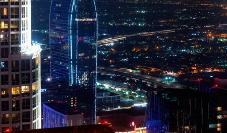 Aerial view of Downtown Los Angeles, CA at night Reklamní fotografie