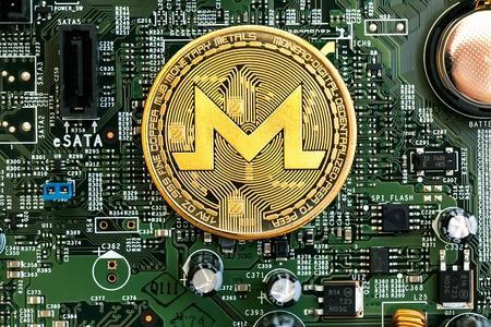 Monero cryptocurreny theme with computer motherboard theme