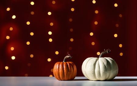 Collection of autumn pumpkins on a shiny light dark red background