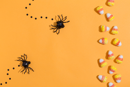 Halloween spiders overhead view on a solid color