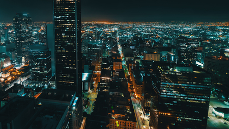 Aerial view of Downtown Los Angeles, CA at night Archivio Fotografico - 108750376