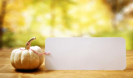A autumn pumpkin with an autumn sky and foliage background Stock Photo