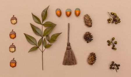 Autumn themed elements on a light brown paper background