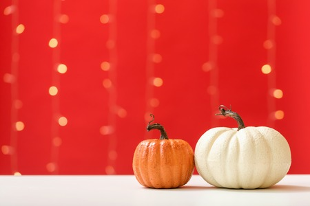 Collection of autumn pumpkins on a shiny light red background