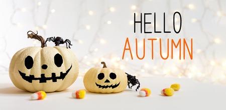 Hola mensaje de otoño con calabazas con araña sobre un fondo claro brillante Foto de archivo