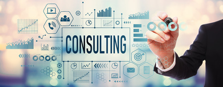 Consulting with businessman on blurred abstract background