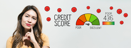 Poor credit score with young woman in a thoughtful face