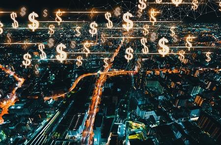 Dollars with Osaka city in Japan at night
