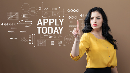 Apply today text with business woman on a brown background
