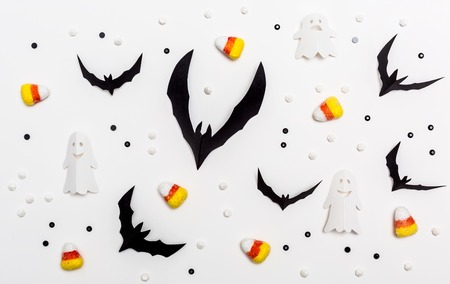 Halloween theme with paper craft decorations on a white background Stock Photo