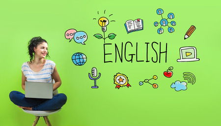 English with young woman using a laptop computer