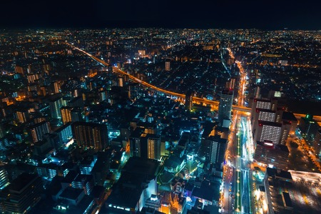 Aerial view of the Osaka cityscape at night Archivio Fotografico - 109269058