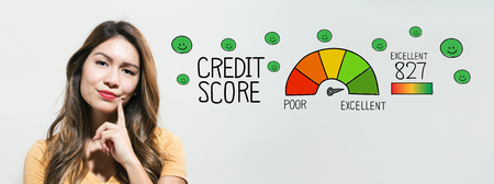 Excellent credit score with young woman in a thoughtful fac