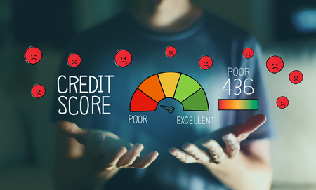 Poor credit score with young man in the night