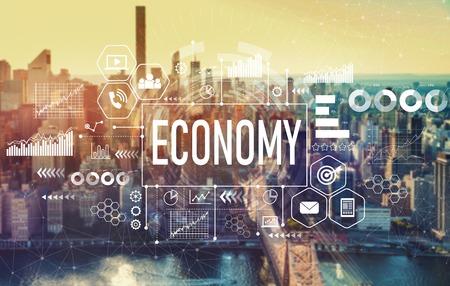 Economy with the New York City skyline near midtown