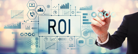 ROI with businessman on blurred abstract background