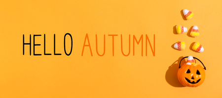 Hello Autumn message with pumpkin overhead view on a solid color Stock Photo