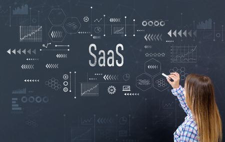 SaaS with young woman writing on a blackboard Stock Photo