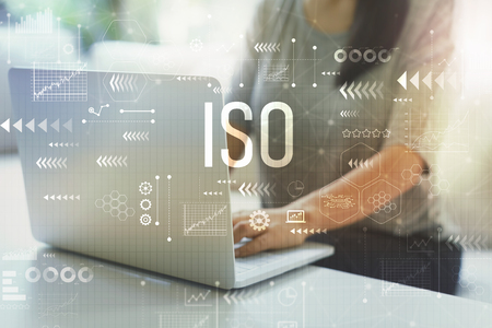 ISO with woman using her laptop in her home office 免版税图像 - 109269616