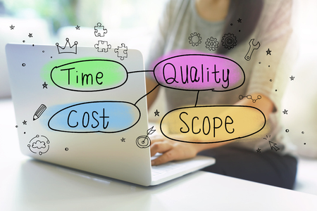Quality, Time, Cost and Scope with woman using her laptop in her home office Stok Fotoğraf