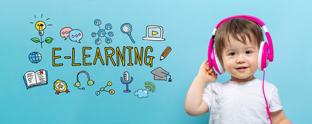 E-Learning with toddler boy with headphones on a blue background