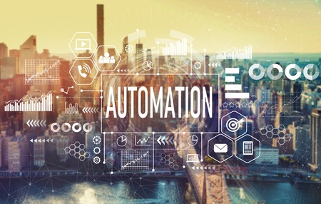 Automation with the New York City skyline near midtown Banque d'images