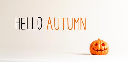 Hello autumn with small orange pumpkin lantern