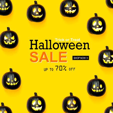 Halloween sale with black colored pumpkin lanterns Reklamní fotografie