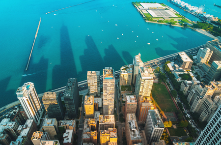 Chicago cityscape with a view of Lake Michigan from above Фото со стока