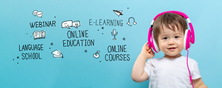 Online education theme with toddler boy with headphones on a blue background