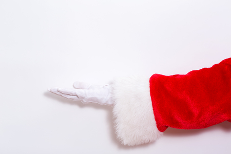 Santa claus holding his hand on a white background