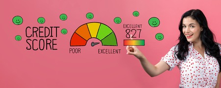 Excellent credit score with young woman on a pink background