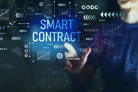 Smart contract with young man on a dark background