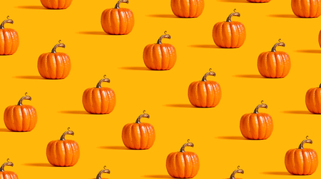 Autumn orange pumpkins on an orange background Stock Photo