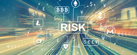 Cryptocurrency ICO risk theme with abstract high speed technology POV motion blur