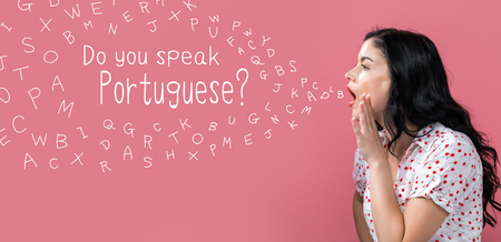 Do you speak Portuguese theme with young woman speaking on a pink background Banco de Imagens - 109802885