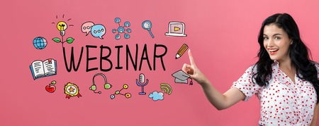 Webinar with young woman on a pink background Standard-Bild - 109802887