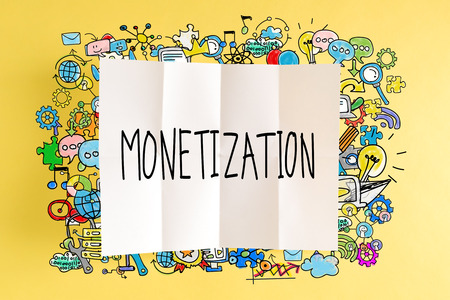 Monetization text with colorful illustrations on a yellow background