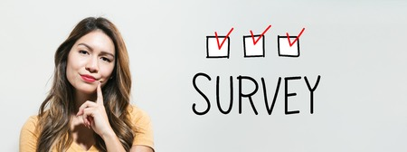 Survey with young woman in a thoughtful fac