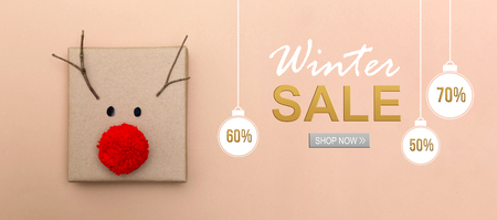 Winter sale message with a red nose reindeer gift box Stock Photo