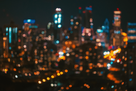 Blurred bokeh Chicago abstract cityscape skyline at night Stock Photo